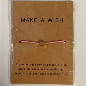 Make A Wish Bracelet, pink with gold heart